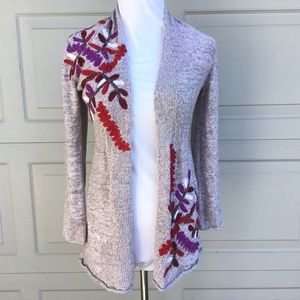 Nic + Zoe Cardigan Long Sleeve Embroidered Sweater